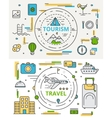 thin line flat design tourism and travel vector image vector image
