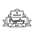 World Puppetry day greeting emblem vector image vector image