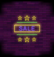 yellow neon sale sign with round frame and stars vector image vector image