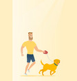 young man walking with his dog vector image vector image
