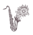 Jazz music Hand-drawn sketch a saxophone sax and vector image