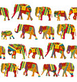 seamless pattern with elephants in ethnic motifs vector image