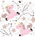 unicorn pink pattern vector image