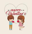 cute couple love hearts in hands happy valentines vector image