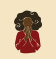 abstract african woman praying with hands folded vector image vector image