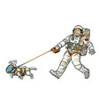 astronauts man and dog isolated on white vector image vector image