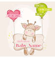 baby girl arrival card - with cute giraffe