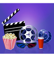 background while a movie with popcorn glasses film vector image vector image