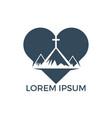baptist cross in mountain logo design vector image vector image