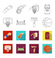basketball and attributes outlineflet icons in vector image