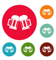 beer mug icons circle set vector image