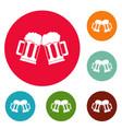 beer mug icons circle set vector image vector image