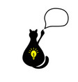 black cat with a light bulb vector image