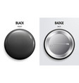 blank black glossy badge or button 3d render vector image vector image