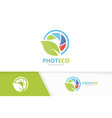 camera shutter and leaf logo combination vector image vector image