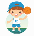 cartoon of basketball boy vector image vector image