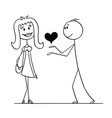 cartoon of man giving heart to woman vector image