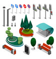 city constructor elements isometric icon set vector image