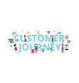 customer journey banner - shopping people standing vector image vector image