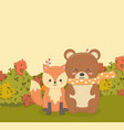 cute bear and fox sitting in forest hello vector image