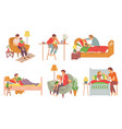 father for child reading stories and treating vector image vector image