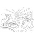 go travel concept coloring book page a tourist vector image vector image