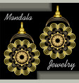 golden earrings in mandala style luxurious vector image vector image