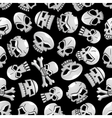 Halloween skeleton skulls seamless background vector image vector image
