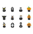 halloween spooky head icons vector image
