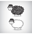 hand drawn doodle cartoon sheep vector image