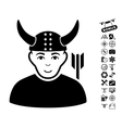 Horned Warrior Icon With Air Drone Tools Bonus vector image vector image