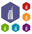 Hotel Burj Al Arab icons set vector image vector image