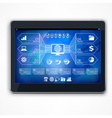 Infographic on blue tablet screen vector image