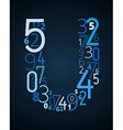 Letter U font from numbers vector image vector image