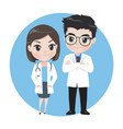 male and female doctors cartoon characters vector image vector image