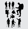 Male and female hiker silhouettes vector image vector image