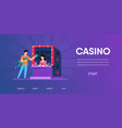 man cash money buy casino chips from woman cashier vector image vector image