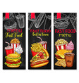 menu price banners for fast food meals vector image vector image