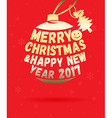 Merry Christmas greeting card on red vector image