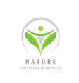 nature green leaves logo design abstract human vector image vector image