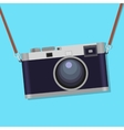 Old photographic camera over BLUE background vector image