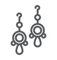pair of earrings line icon jewellery and vector image
