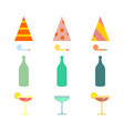 party set celebratory cap and party horn alcohol vector image vector image