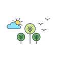 peaceful landscape with trees sun cloud vector image vector image