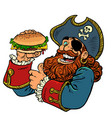 pirate funny character fast food burger vector image vector image
