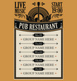 poster for music pub restaurant with live music vector image