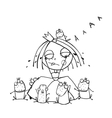 Princess Crying and Many Prince Frogs Coloring vector image vector image