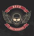 Road brotherhood Skull in motorcycle helmet and vector image