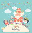 saint nicholas with piet and happy kids vector image