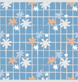 seamless botanic pattern with daisy flowers blue vector image vector image